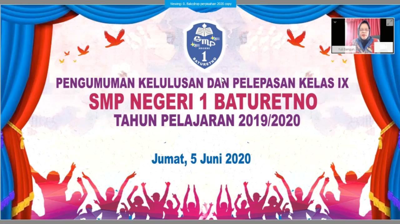 Pelepasan Siswa SMPN 1 Baturetno lewat Video Conference